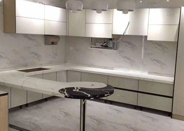 White Quartz Kitchen Worktops , Quartz Stone Countertops Customized Size